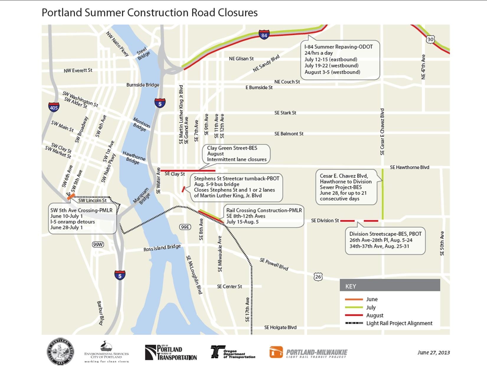 Summer construction map