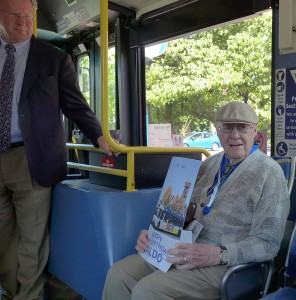TriMet General Manager Neil McFarlane and Centenarian Waldo Johnson during his birthday surprise on Line 77.