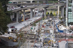 Portland-Milwaukie Light Rail construction on SW Moody Ave completed ahead of schedule. Photo from work underway Sept. 26.
