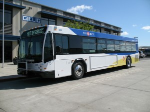 New 3200 series TriMet bus outside of the Gillig factory in Hayward, CA