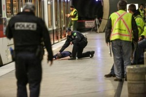 Police respond to a full-scale drill in the Washington Park Station.