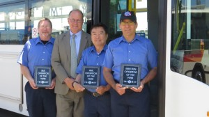 Bus Operator Andy Church, TriMet General Manager Neil McFarlane, MAX Operator of the Year Jason Wang and Mini-Run/Part-Time Operator of the year Fernando Lopez.