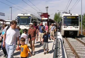 Opening day on the Yellow Line on May 1, 2004 attracted thousands of riders.