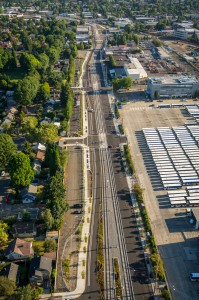 Aerial view of the future MAX Orange Line along SE 17th Ave and TriMet's Operations Headquarters