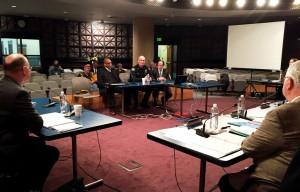 New Transit Police Commander Mike Leloff (center, in uniform) addresses the TriMet board of directors on Jan. 28, 2015.