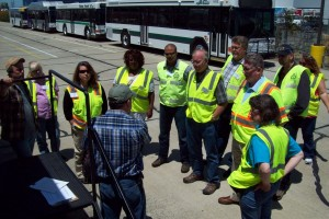TriMet Bus Operator Continuous Improvement Team members visiting a Gillig facility where TriMet's newest buses are manufactured (June 2014)