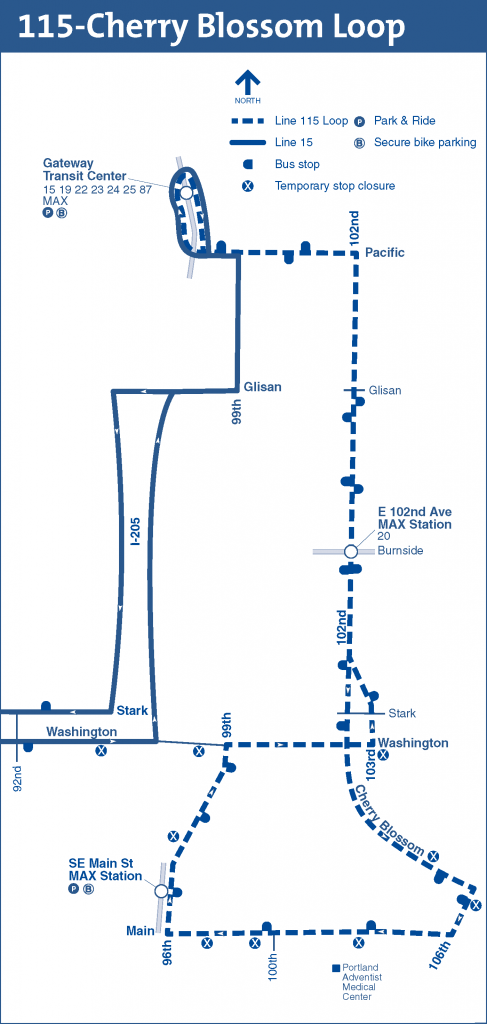 Map of temporary Line 15 detour; Line 115 temporary service (Click to enlarge)