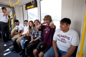 Milwaukie High students get an advanced ride on the future MAX Orange Line as part of TriMet's School Safety Rides, sponsored by OHSU Doernbecher Children's Hospital.