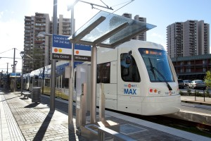 March 31, 2015- Portland, OR- New Type 5 light rail trains are open for a public tour at the SW Lincoln/SW 3rd Ave station for TriMet's  Portland-Milwaukie Light Rail Transit Project (PMLR). Licensed for all uses by TriMet.