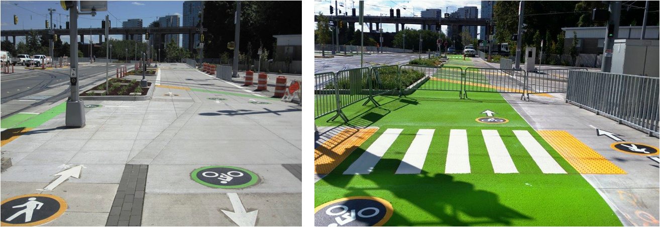 The SW Moody cycletrack and sidewalk before and after added safety features makes it better for pedestrians and bicyclists
