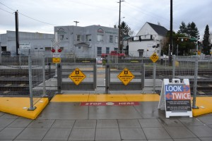 Manual swing gates installed at SE 11th MAX crossing along the Orange Line