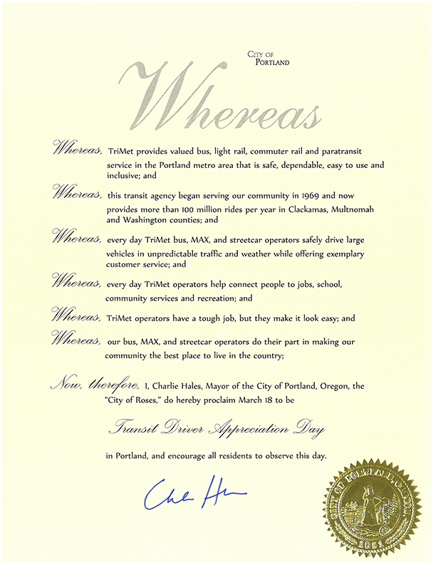 Transit Driver Appreciation Day_PROCLAMATION from City of Portland_lowres