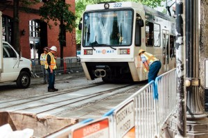 Test train goes through new track at NW 1st and Couch