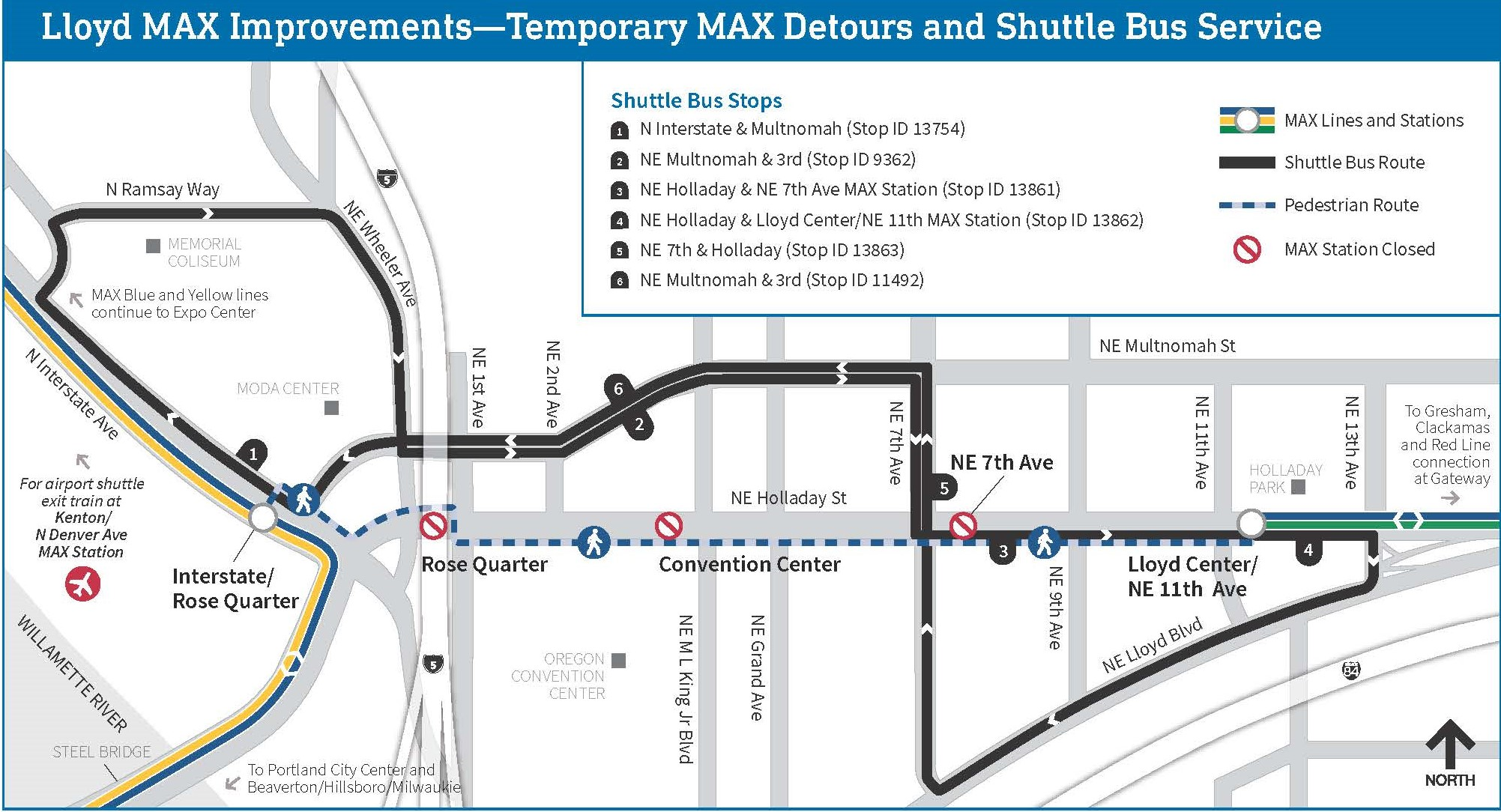 to lessen the disruption to max red line riders heading to and from the  airport, shuttle buses will run directly between the kenton/n denver ave  station,